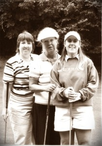 My Aunt, Shirley (center), and myself during a round of golf.